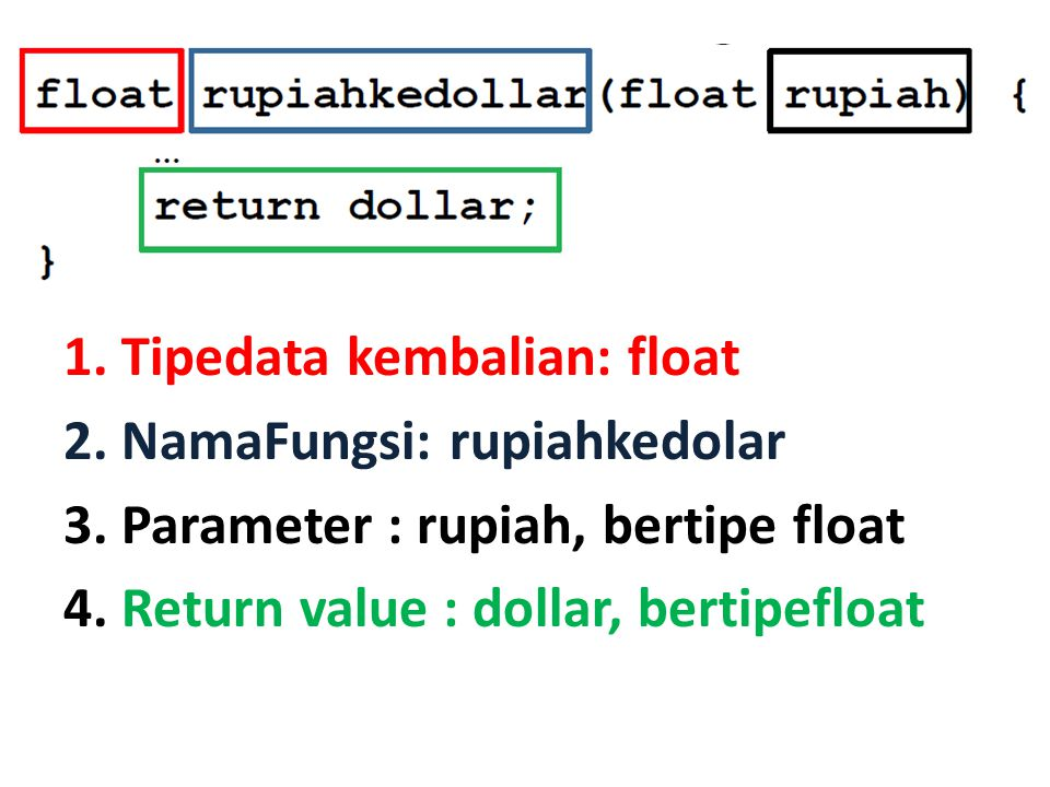 1. Tipedata kembalian: float 2. NamaFungsi: rupiahkedolar 3. Parameter : rupiah, bertipe float 4. Return value : dollar, bertipefloat