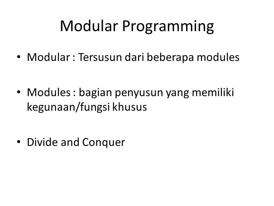 Bagian Utama Deklarasi Fungsi Tipe Data Nama Fungsi Parameter