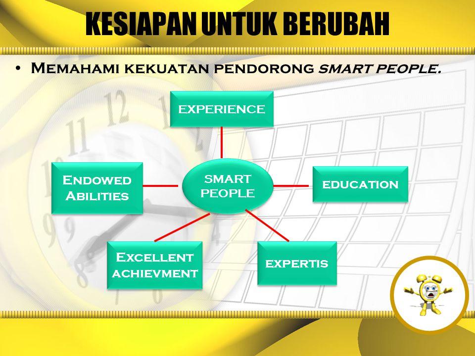 KESIAPAN UNTUK BERUBAH Memahami kekuatan pendorong smart people. EXPERIENCE education Endowed Abilities expertis Excellent achievment SMART PEOPLE