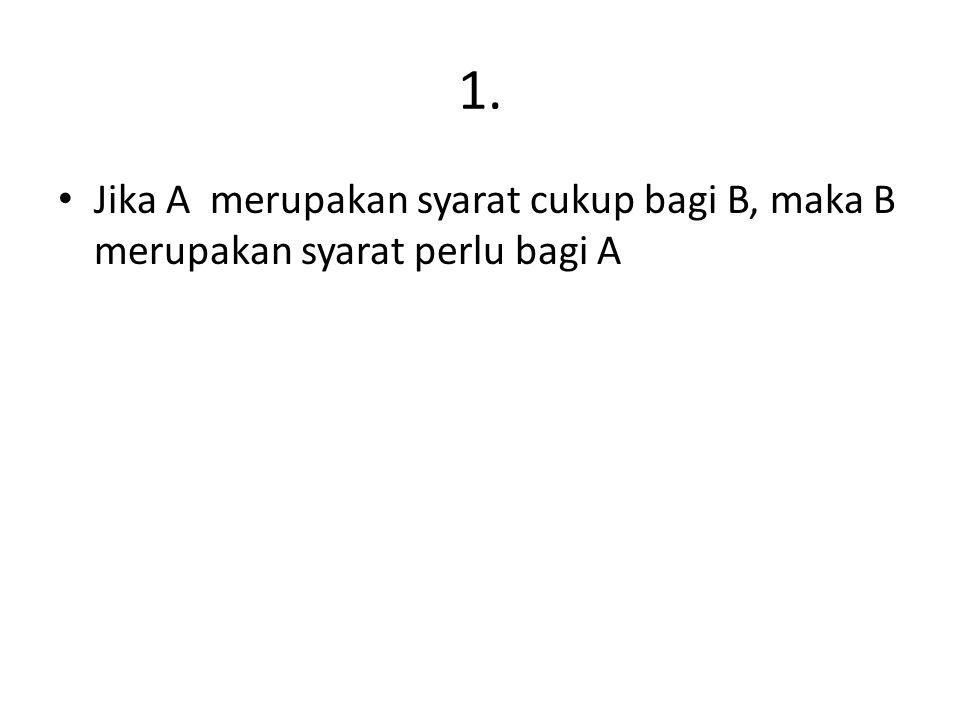 1. Jika A merupakan syarat cukup bagi B, maka B merupakan syarat perlu bagi A