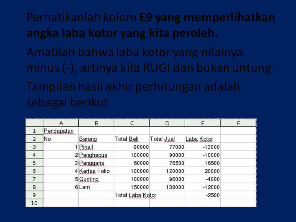 Perhatikanlah kolom E9 yang memperlihatkan angka laba kotor yang kita peroleh. Amatilah bahwa laba kotor yang nilainya minus (-), artinya kita RUGI da