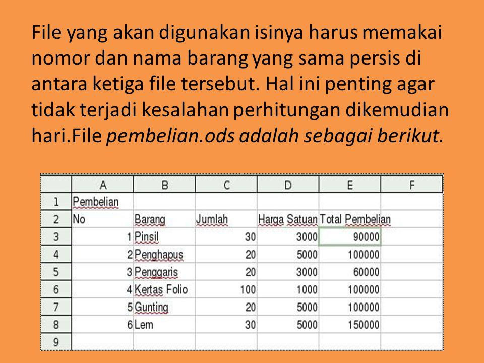 File penjualan.ods adalah sebagai berikut File pendapatan.ods adalah sebagai berikut