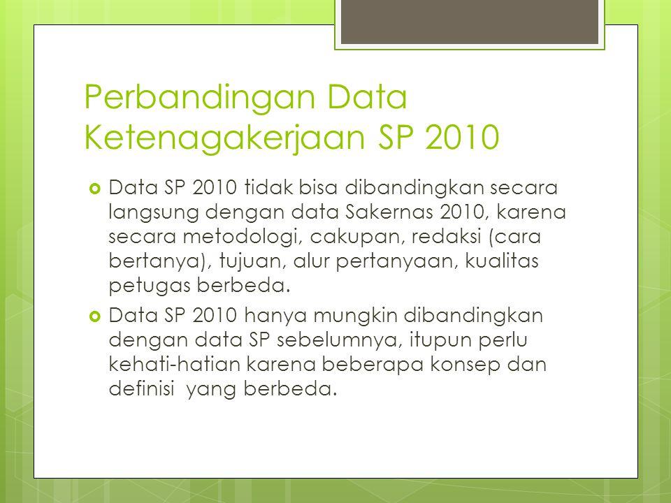 Perbandingan Data Ketenagakerjaan SP 2010  Data SP 2010 tidak bisa dibandingkan secara langsung dengan data Sakernas 2010, karena secara metodologi,