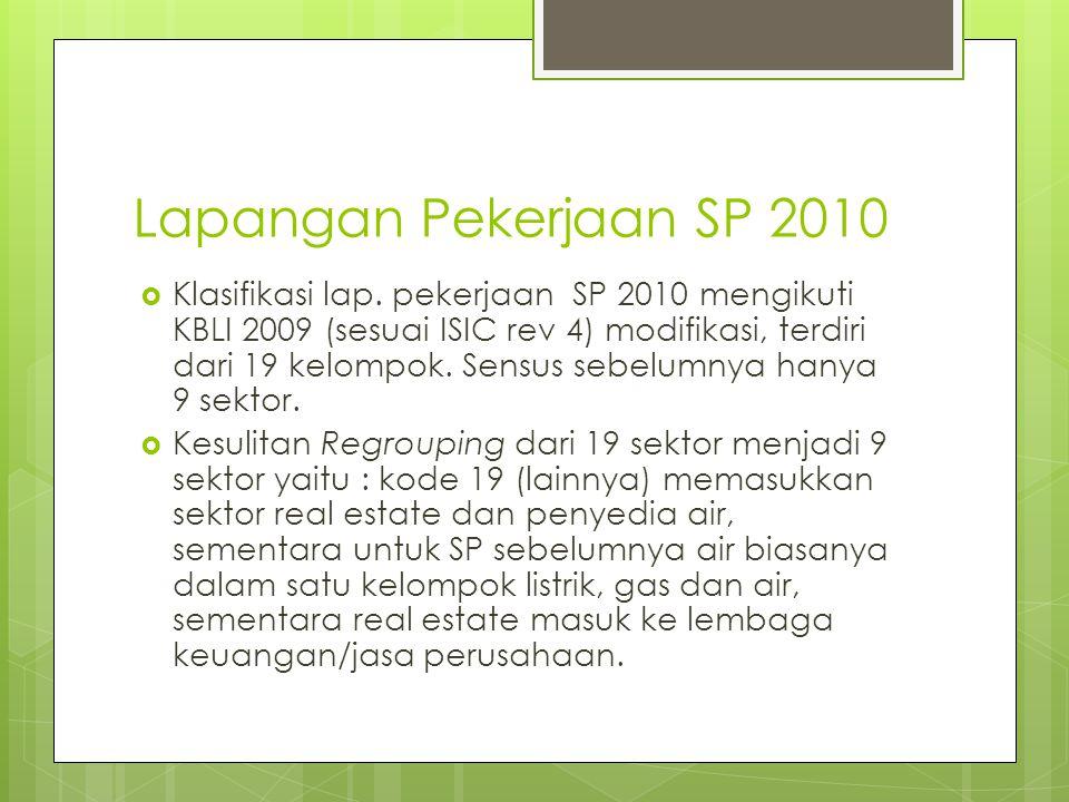 Lapangan Pekerjaan SP 2010  Klasifikasi lap. pekerjaan SP 2010 mengikuti KBLI 2009 (sesuai ISIC rev 4) modifikasi, terdiri dari 19 kelompok. Sensus s