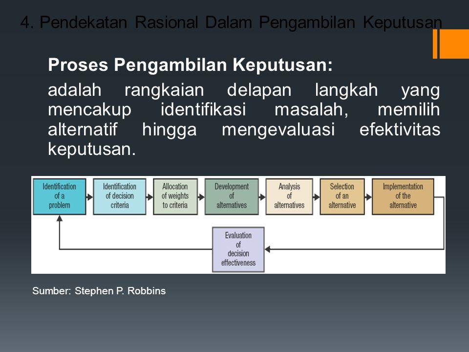 4. Pendekatan Rasional Dalam Pengambilan Keputusan Proses Pengambilan Keputusan: adalah rangkaian delapan langkah yang mencakup identifikasi masalah,