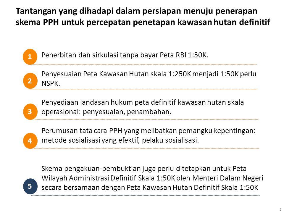 5 Penerbitan dan sirkulasi tanpa bayar Peta RBI 1:50K. Penyesuaian Peta Kawasan Hutan skala 1:250K menjadi 1:50K perlu NSPK. Penyediaan landasan hukum