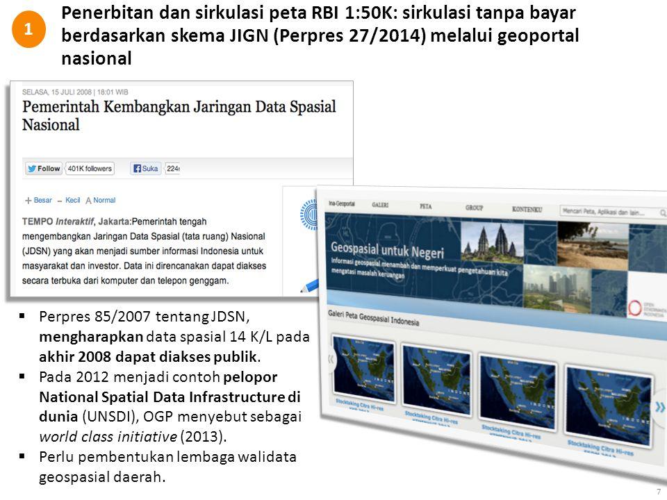 7  Perpres 85/2007 tentang JDSN, mengharapkan data spasial 14 K/L pada akhir 2008 dapat diakses publik.  Pada 2012 menjadi contoh pelopor National S
