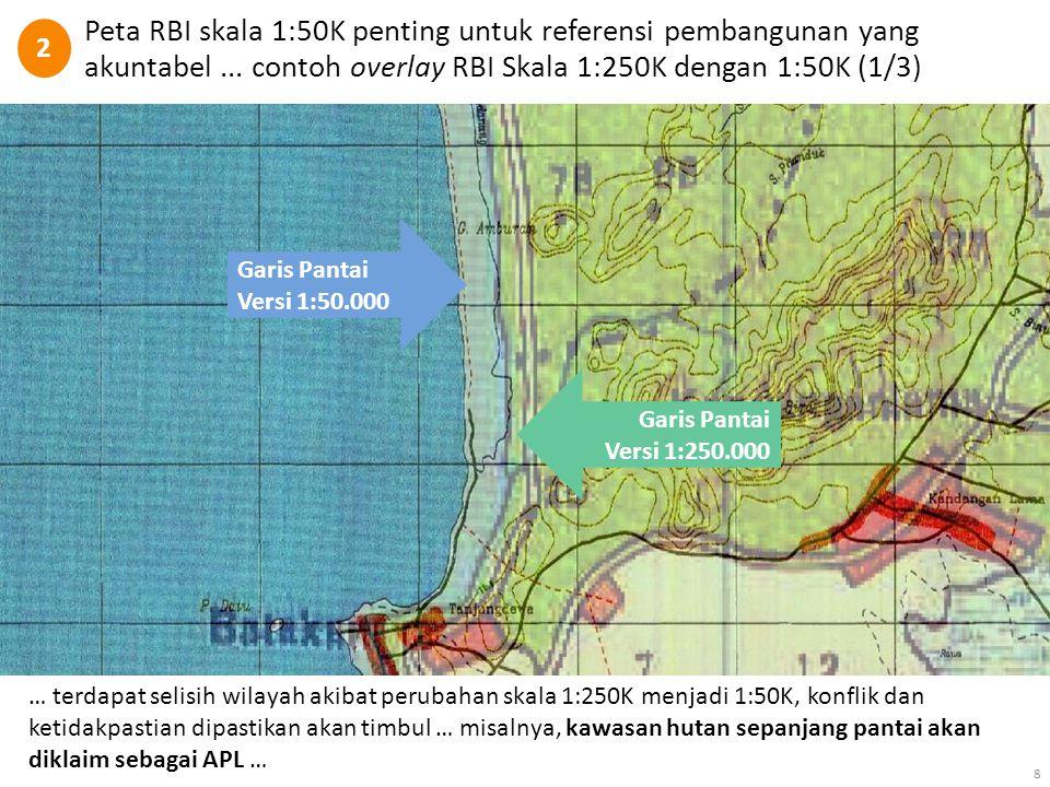 Peta RBI skala 1:50K penting untuk referensi pembangunan yang akuntabel... contoh overlay RBI Skala 1:250K dengan 1:50K (1/3) 8 Garis Pantai Versi 1:5