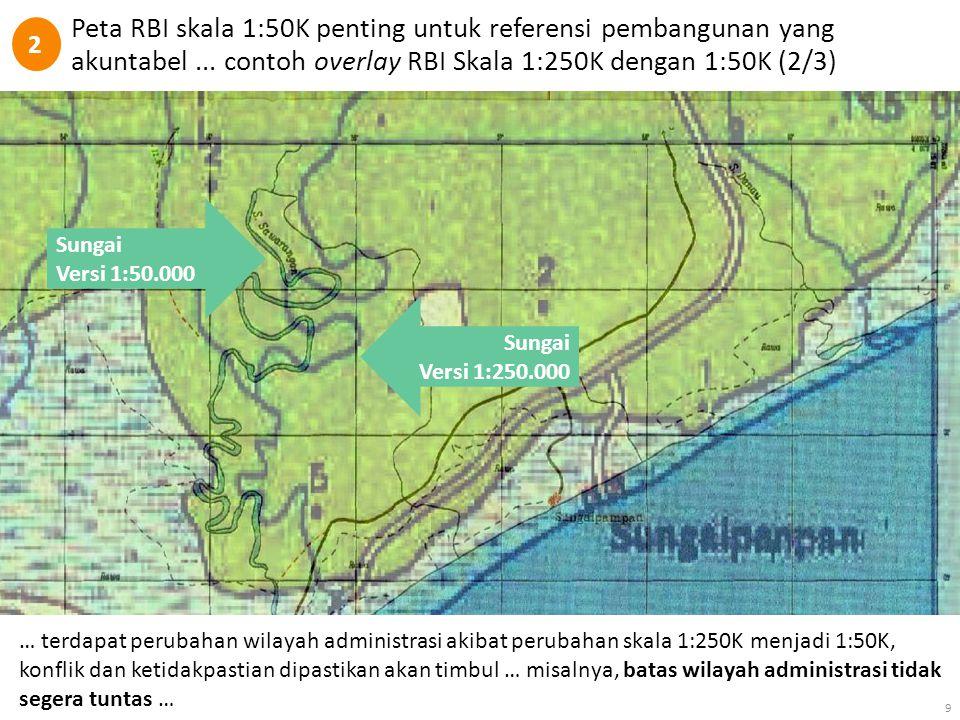Peta RBI skala 1:50K penting untuk referensi pembangunan yang akuntabel... contoh overlay RBI Skala 1:250K dengan 1:50K (2/3) 9 Sungai Versi 1:50.000