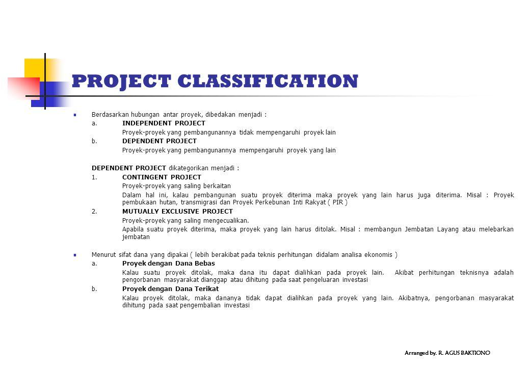 PROJECT CLASSIFICATION Berdasarkan hubungan antar proyek, dibedakan menjadi : a.