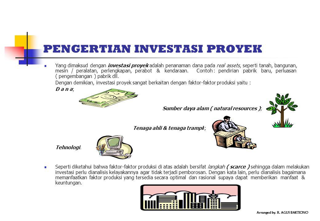 PENGERTIAN INVESTASI PROYEK Yang dimaksud dengan investasi proyek adalah penanaman dana pada real assets, seperti tanah, bangunan, mesin / peralatan, perlengkapan, perabot & kendaraan.