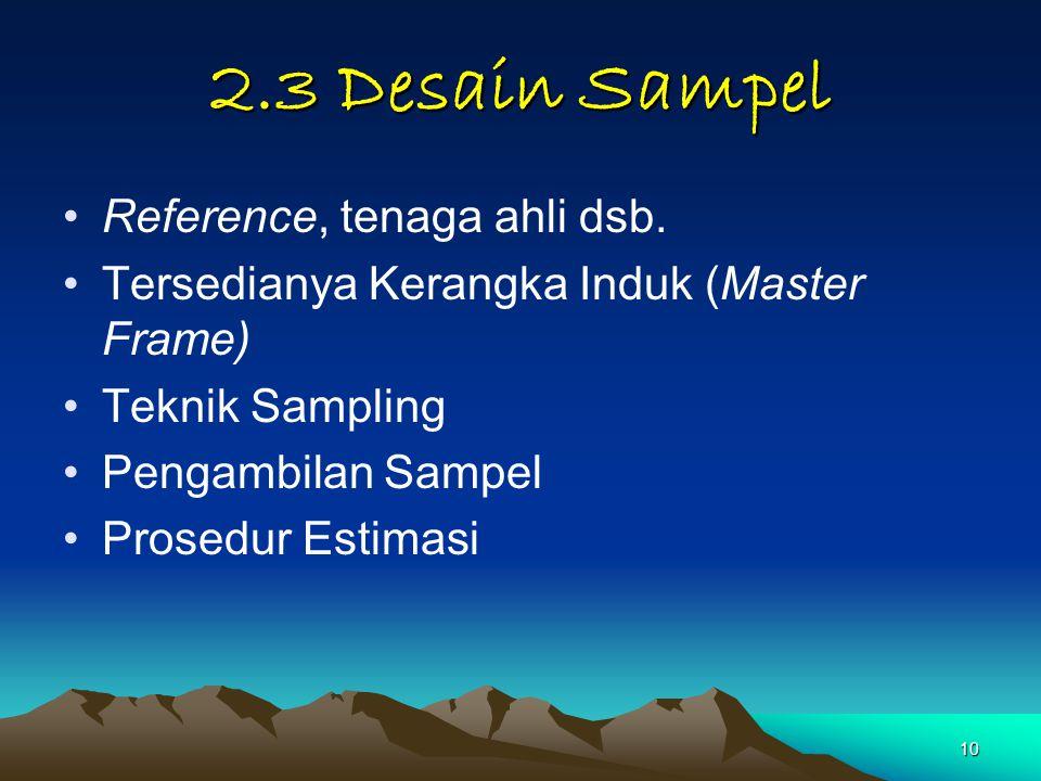 10 2.3 Desain Sampel Reference, tenaga ahli dsb. Tersedianya Kerangka Induk (Master Frame) Teknik Sampling Pengambilan Sampel Prosedur Estimasi