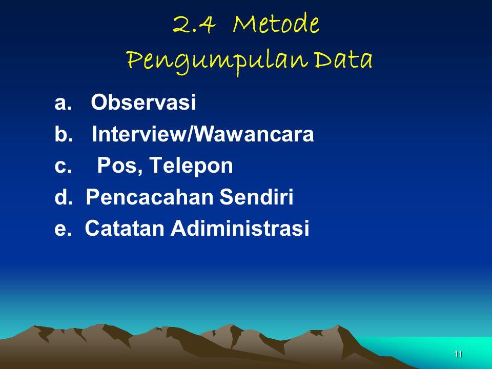11 2.4 Metode Pengumpulan Data a. Observasi b. Interview/Wawancara c. Pos, Telepon d. Pencacahan Sendiri e. Catatan Adiministrasi
