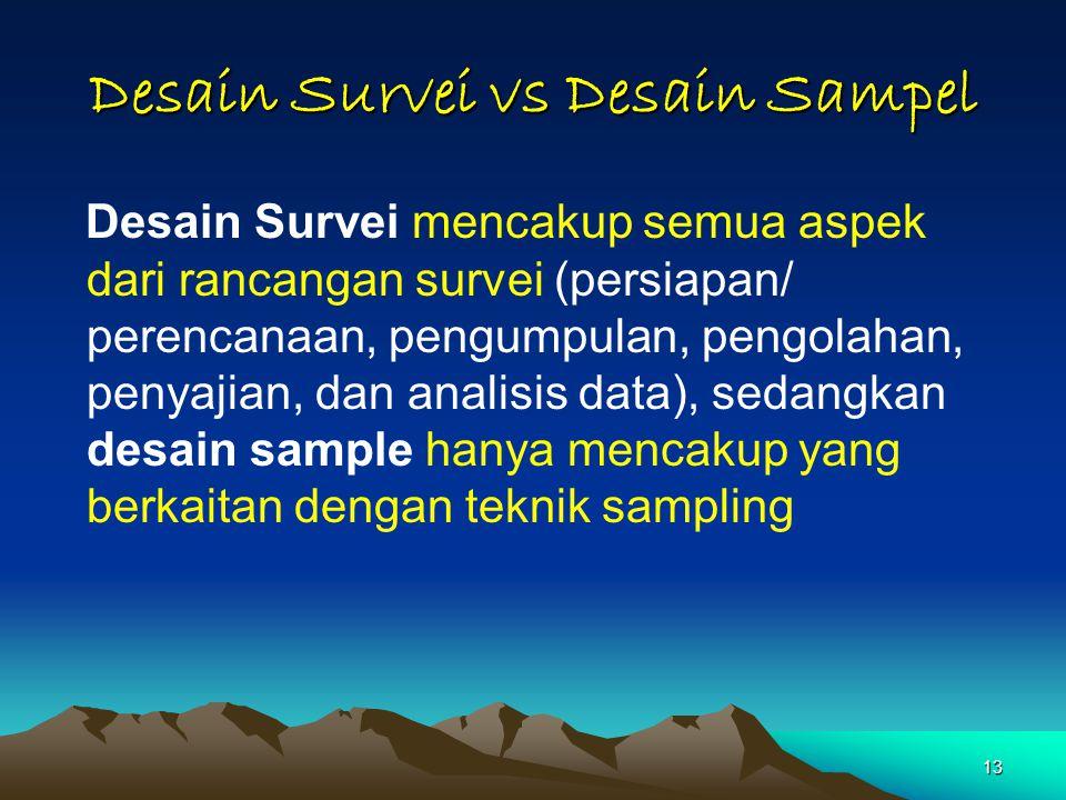 13 Desain Survei vs Desain Sampel Desain Survei mencakup semua aspek dari rancangan survei (persiapan/ perencanaan, pengumpulan, pengolahan, penyajian