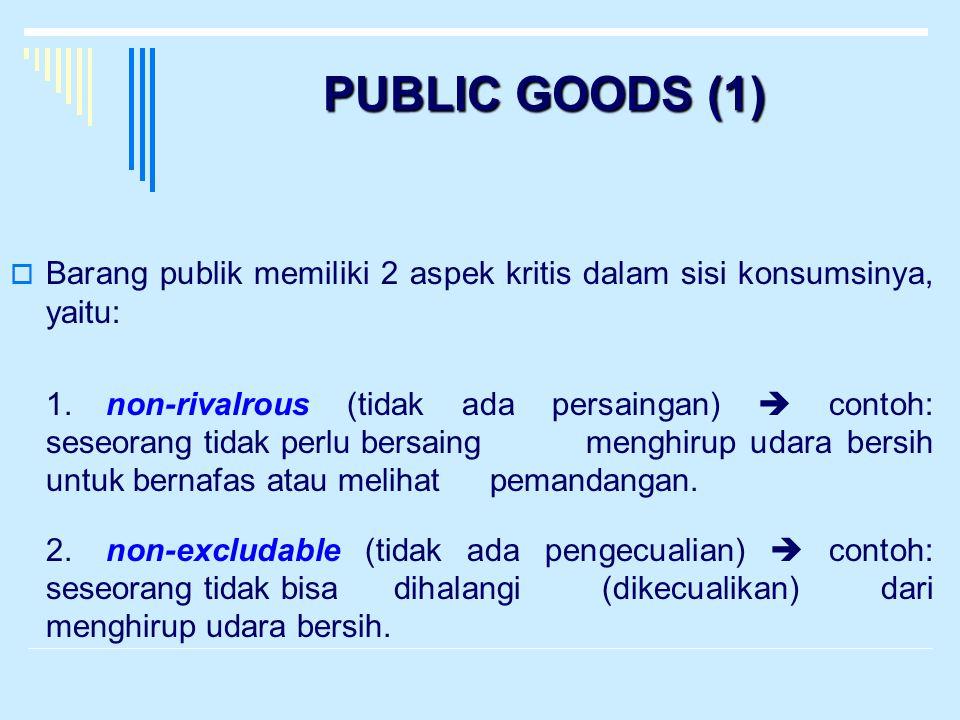 PUBLIC GOODS (1)  Barang publik memiliki 2 aspek kritis dalam sisi konsumsinya, yaitu: 1.non-rivalrous (tidak ada persaingan)  contoh: seseorang tid