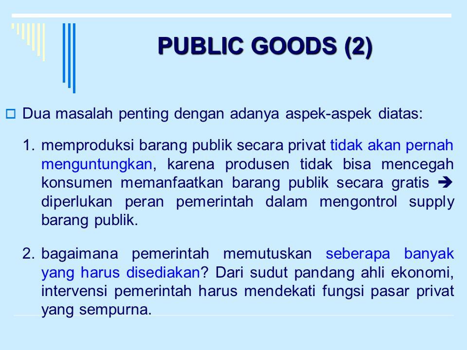 PUBLIC GOODS (2)  Dua masalah penting dengan adanya aspek-aspek diatas: 1.memproduksi barang publik secara privat tidak akan pernah menguntungkan, ka