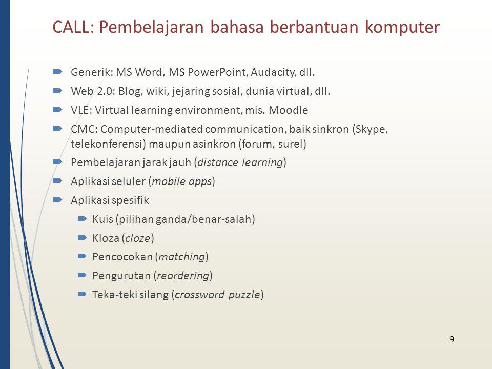 CALL: Pembelajaran bahasa berbantuan komputer  Generik: MS Word, MS PowerPoint, Audacity, dll.  Web 2.0: Blog, wiki, jejaring sosial, dunia virtual,