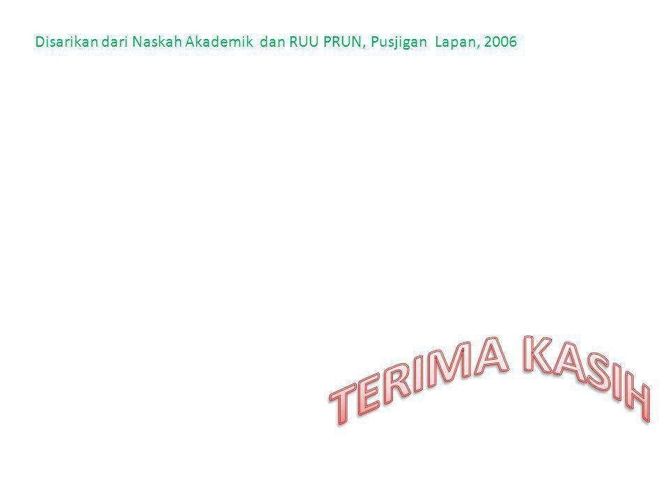 Disarikan dari Naskah Akademik dan RUU PRUN, Pusjigan Lapan, 2006