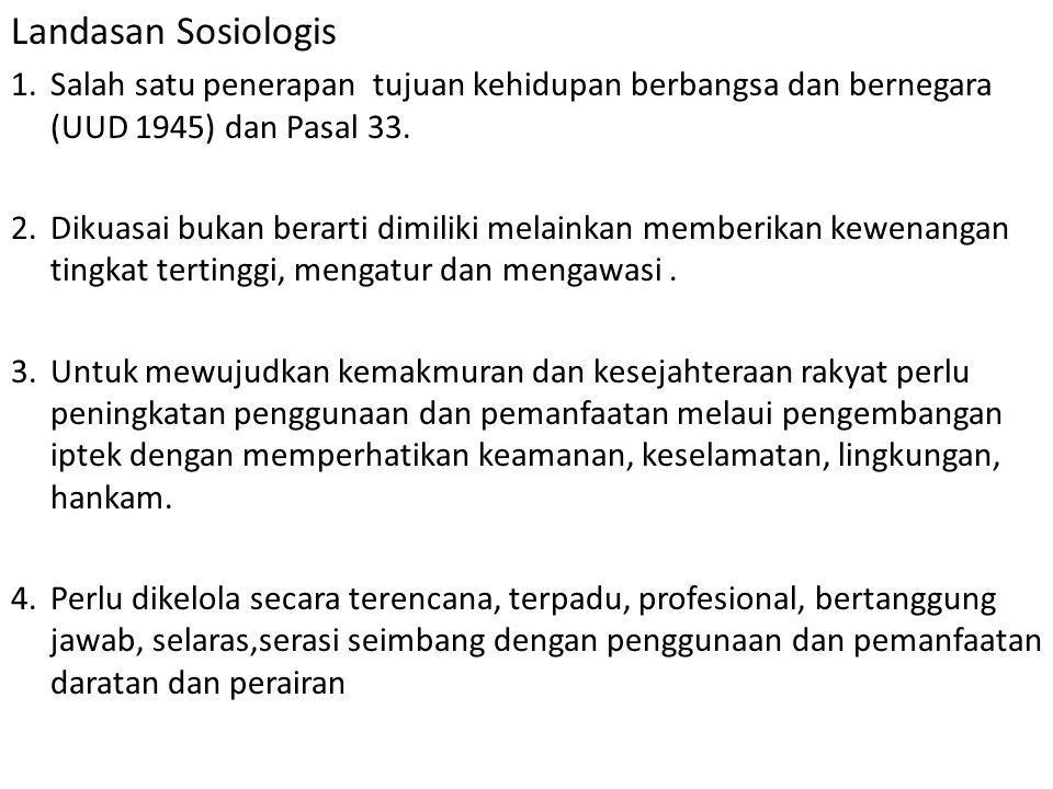 Landasan Sosiologis 1.Salah satu penerapan tujuan kehidupan berbangsa dan bernegara (UUD 1945) dan Pasal 33. 2.Dikuasai bukan berarti dimiliki melaink