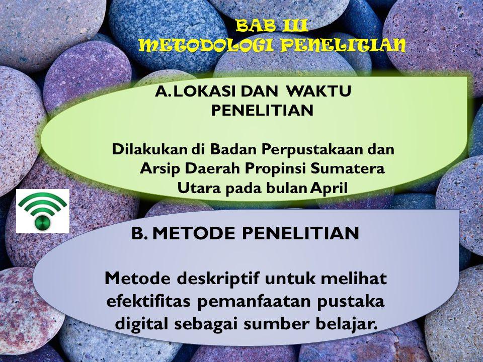 BAB III METODOLOGI PENELITIAN A.LOKASI DAN WAKTU PENELITIAN Dilakukan di Badan Perpustakaan dan Arsip Daerah Propinsi Sumatera Utara pada bulan April