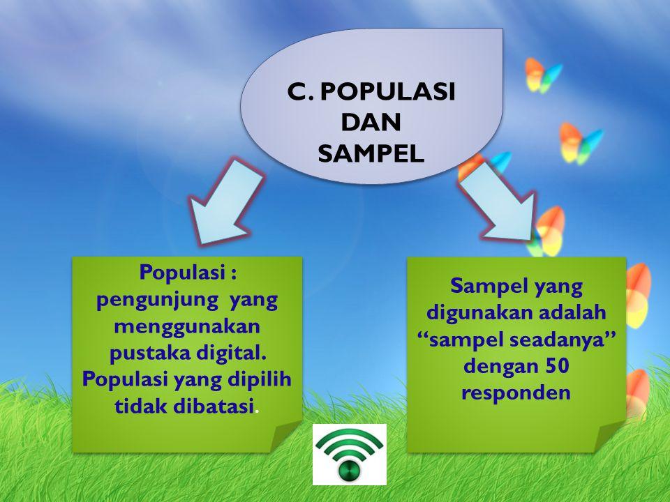 C. POPULASI DAN SAMPEL Populasi : pengunjung yang menggunakan pustaka digital. Populasi yang dipilih tidak dibatasi. Populasi : pengunjung yang menggu