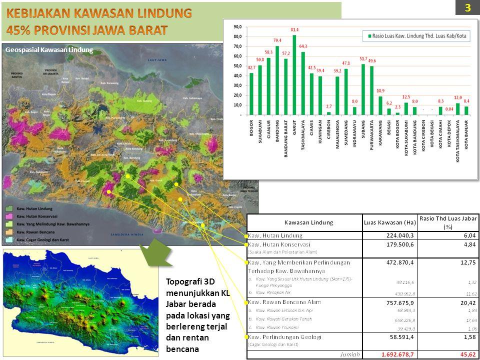 Geospasial Kawasan Lindung Topografi 3D menunjukkan KL Jabar berada pada lokasi yang berlereng terjal dan rentan bencana 3