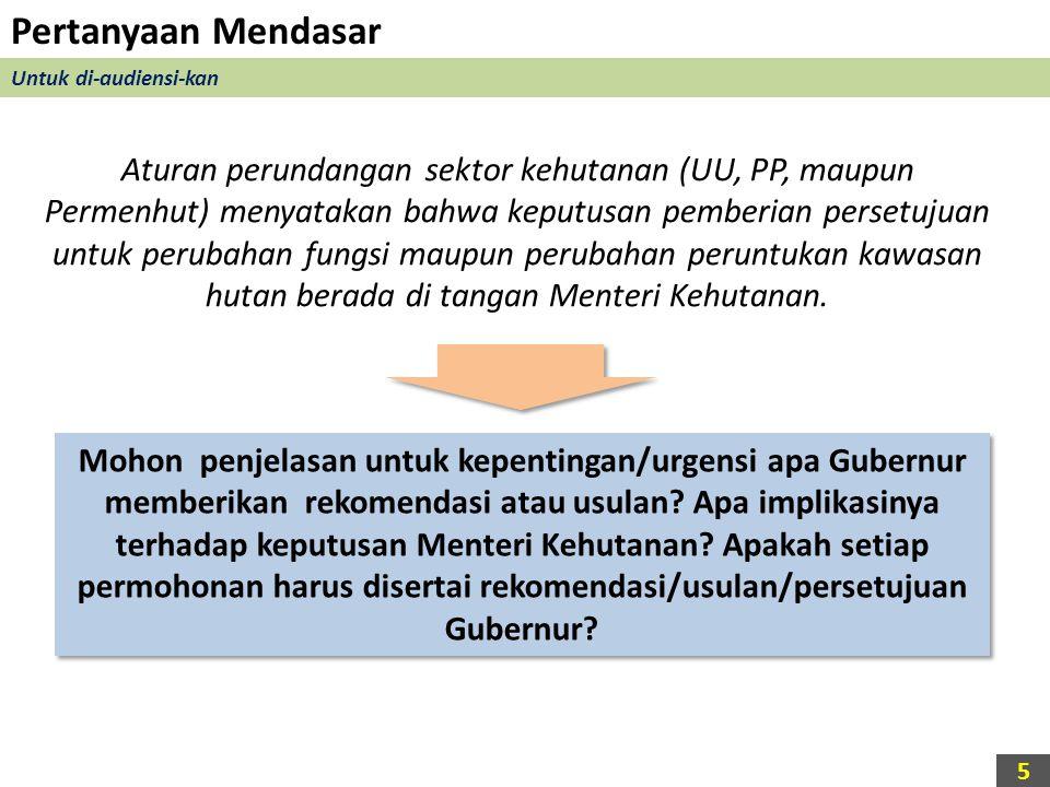 Pertanyaan Mendasar Untuk di-audiensi-kan Aturan perundangan sektor kehutanan (UU, PP, maupun Permenhut) menyatakan bahwa keputusan pemberian persetuj