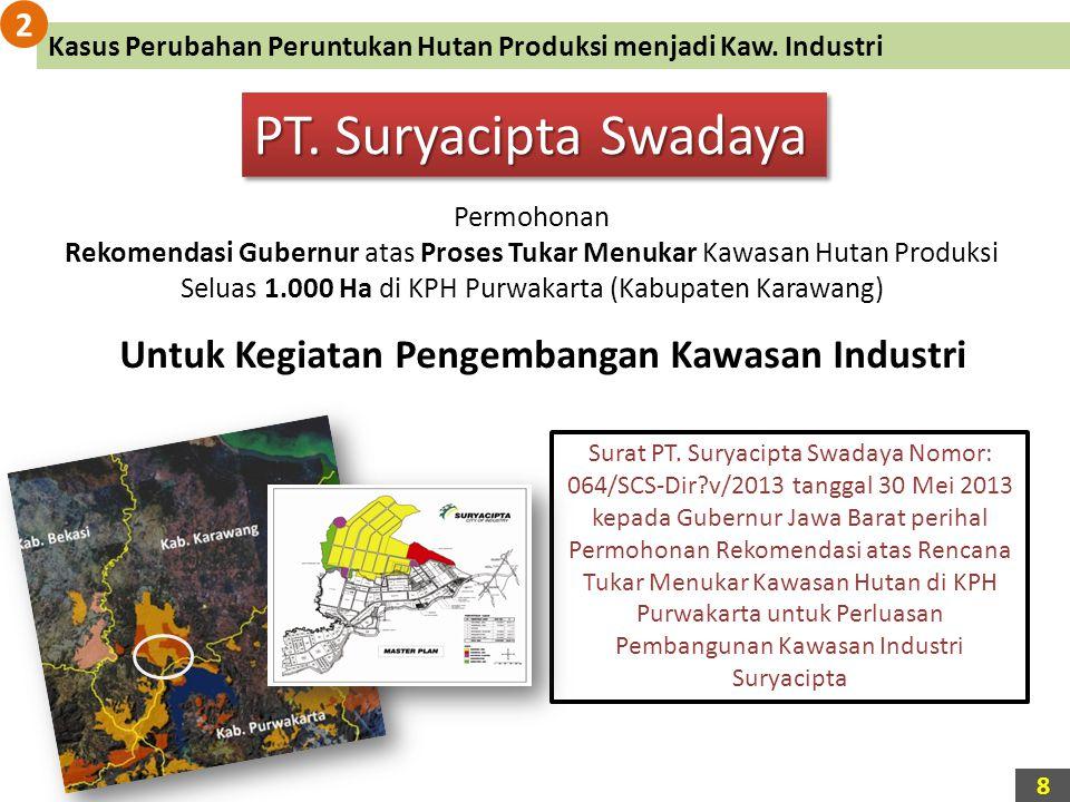 PT. Suryacipta Swadaya Permohonan Rekomendasi Gubernur atas Proses Tukar Menukar Kawasan Hutan Produksi Seluas 1.000 Ha di KPH Purwakarta (Kabupaten K