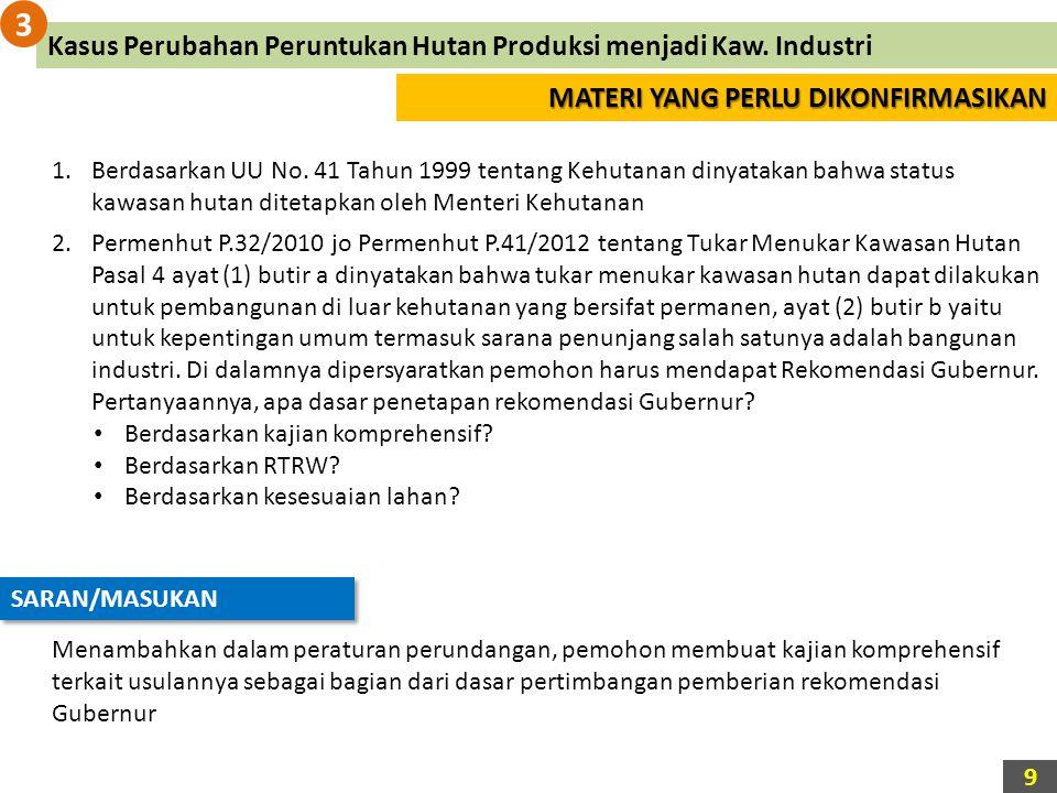 MATERI YANG PERLU DIKONFIRMASIKAN 1.Berdasarkan UU No. 41 Tahun 1999 tentang Kehutanan dinyatakan bahwa status kawasan hutan ditetapkan oleh Menteri K