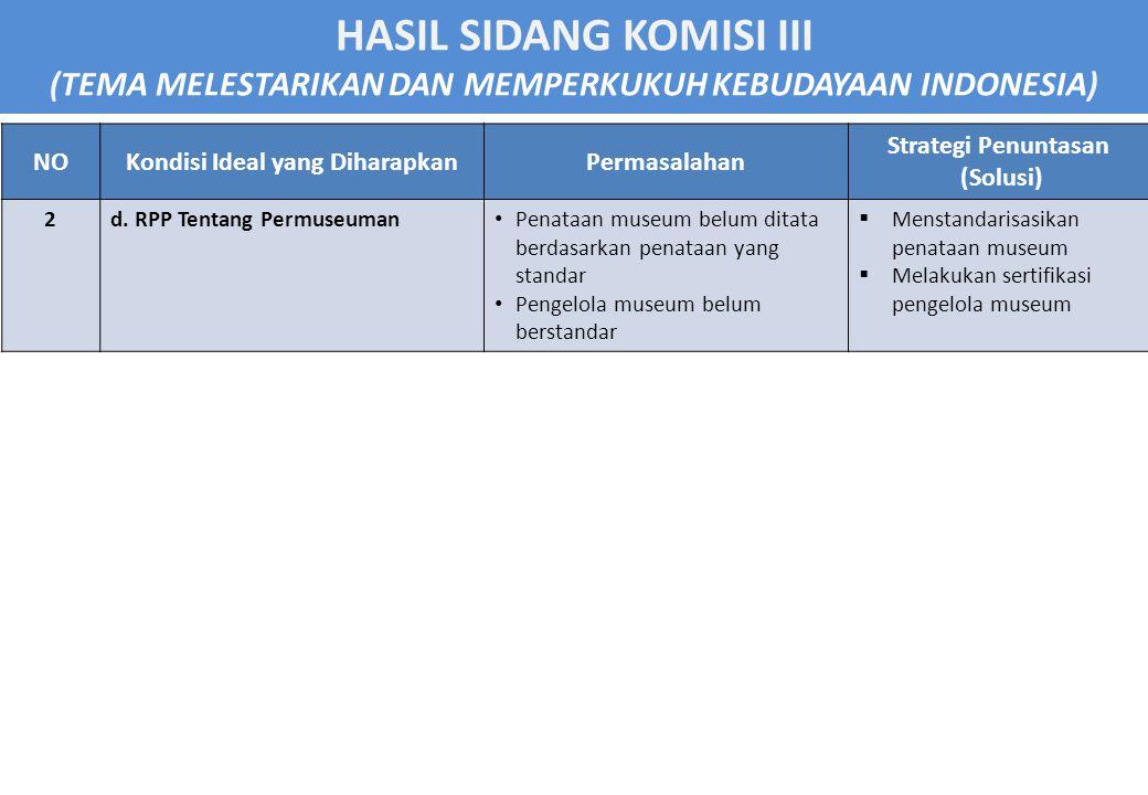 HASIL SIDANG KOMISI III (TEMA MELESTARIKAN DAN MEMPERKUKUH KEBUDAYAAN INDONESIA) NOKondisi Ideal yang DiharapkanPermasalahan Strategi Penuntasan (Solusi) 3PENCATATAN WARISAN BUDAYA a.
