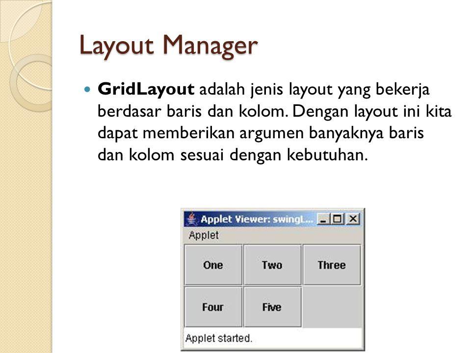 Layout Manager GridLayout adalah jenis layout yang bekerja berdasar baris dan kolom.