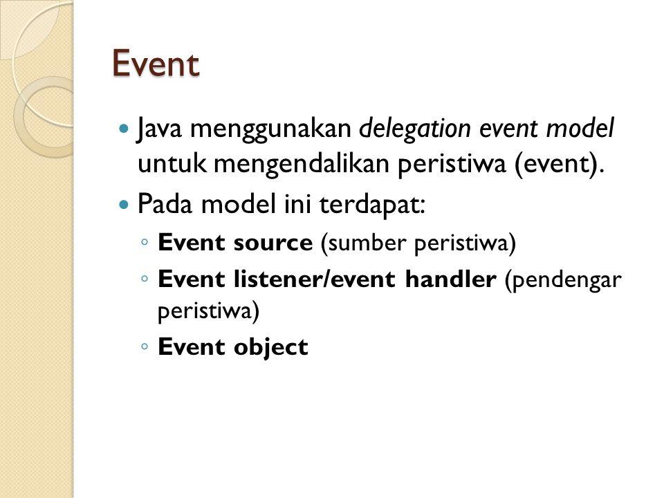 Event Java menggunakan delegation event model untuk mengendalikan peristiwa (event).