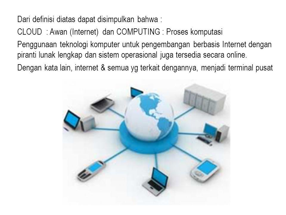 Dari definisi diatas dapat disimpulkan bahwa : CLOUD : Awan (Internet) dan COMPUTING : Proses komputasi Penggunaan teknologi komputer untuk pengembang