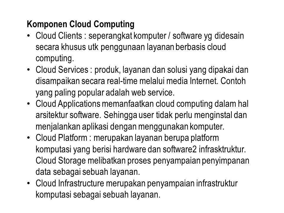 Komponen Cloud Computing Cloud Clients : seperangkat komputer / software yg didesain secara khusus utk penggunaan layanan berbasis cloud computing. Cl