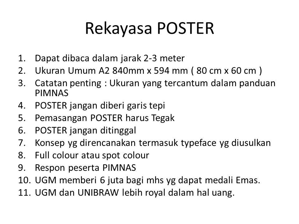Rekayasa POSTER 1.Dapat dibaca dalam jarak 2-3 meter 2.Ukuran Umum A2 840mm x 594 mm ( 80 cm x 60 cm ) 3.Catatan penting : Ukuran yang tercantum dalam