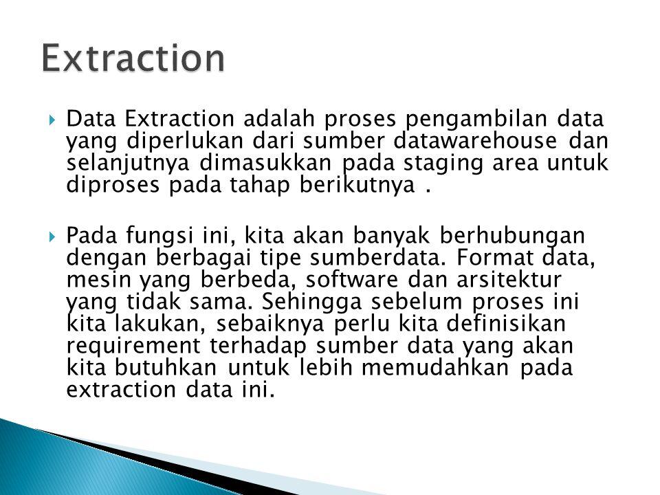  Data Extraction adalah proses pengambilan data yang diperlukan dari sumber datawarehouse dan selanjutnya dimasukkan pada staging area untuk diproses