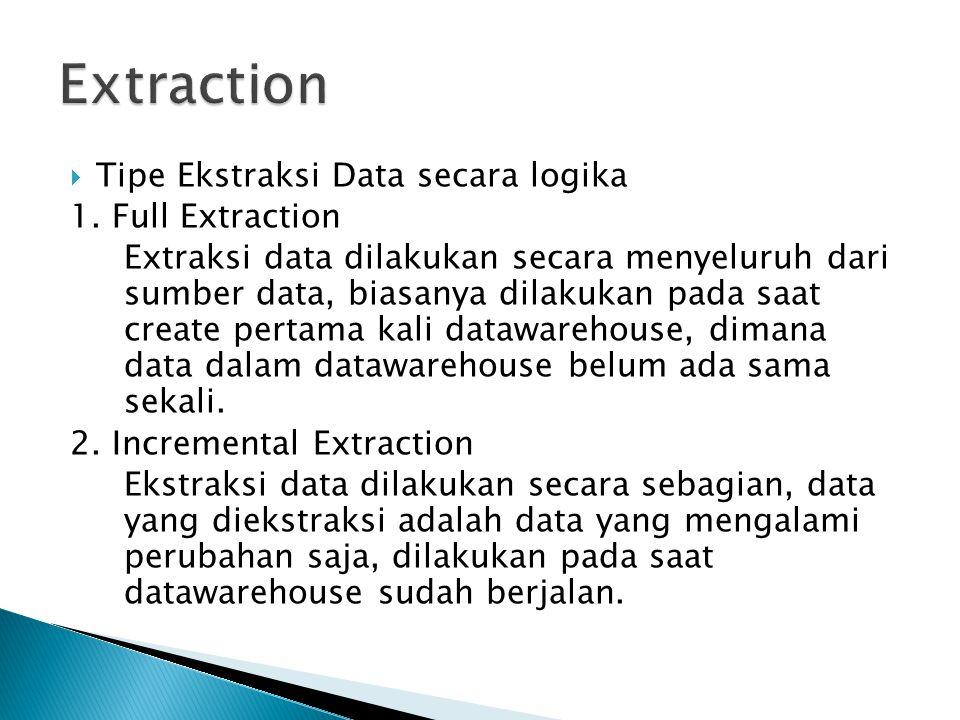  Tipe Ekstraksi Data secara logika 1. Full Extraction Extraksi data dilakukan secara menyeluruh dari sumber data, biasanya dilakukan pada saat create