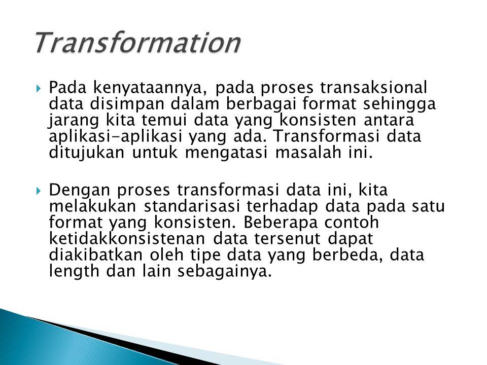  Pada kenyataannya, pada proses transaksional data disimpan dalam berbagai format sehingga jarang kita temui data yang konsisten antara aplikasi-apli