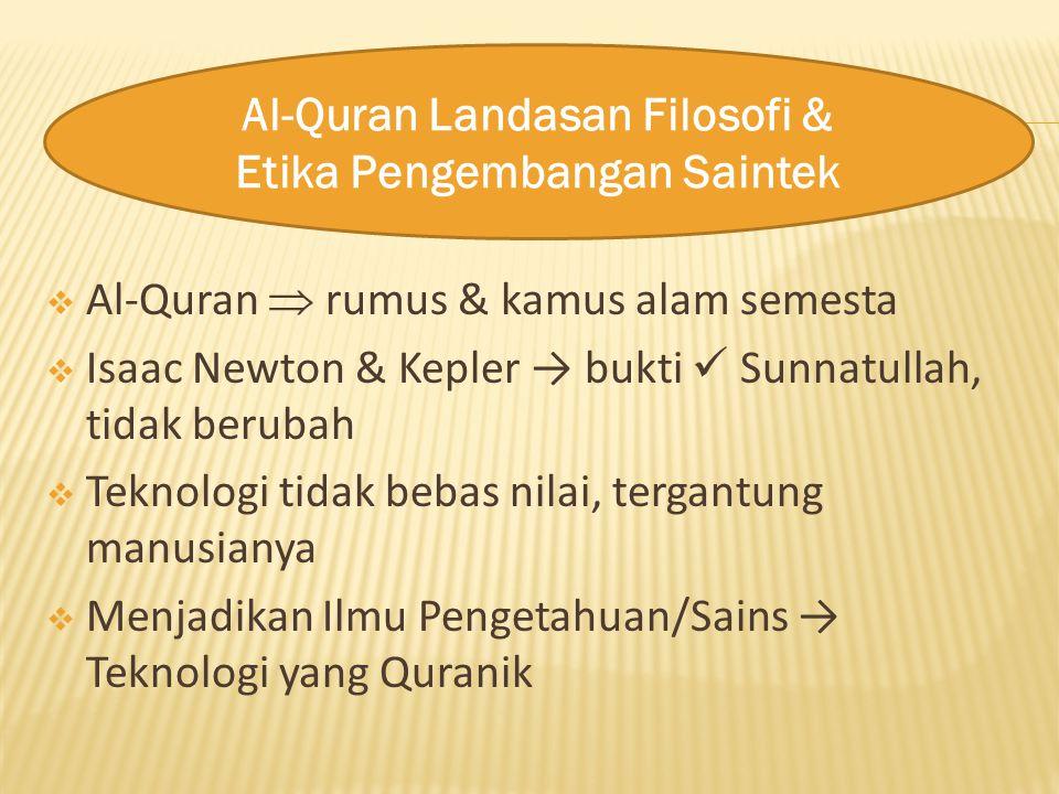 Al-Quran  rumus & kamus alam semesta  Isaac Newton & Kepler → bukti Sunnatullah, tidak berubah  Teknologi tidak bebas nilai, tergantung manusiany