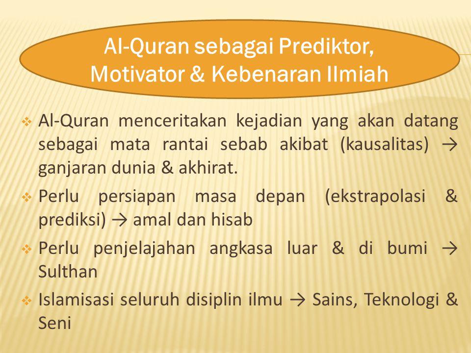  Al-Quran menceritakan kejadian yang akan datang sebagai mata rantai sebab akibat (kausalitas) → ganjaran dunia & akhirat.  Perlu persiapan masa dep