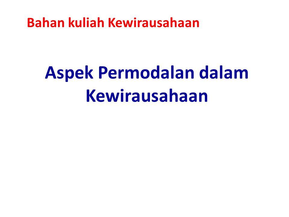 Aspek Permodalan dalam Kewirausahaan Bahan kuliah Kewirausahaan