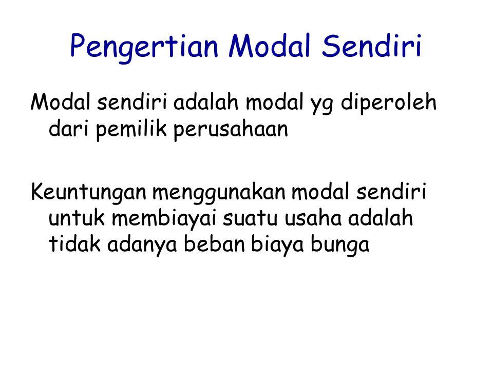 Pengertian Modal Sendiri Modal sendiri adalah modal yg diperoleh dari pemilik perusahaan Keuntungan menggunakan modal sendiri untuk membiayai suatu us