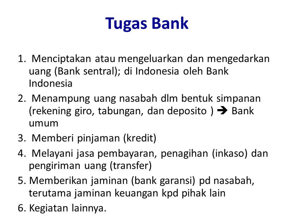 Tugas Bank 1. Menciptakan atau mengeluarkan dan mengedarkan uang (Bank sentral); di Indonesia oleh Bank Indonesia 2. Menampung uang nasabah dlm bentuk