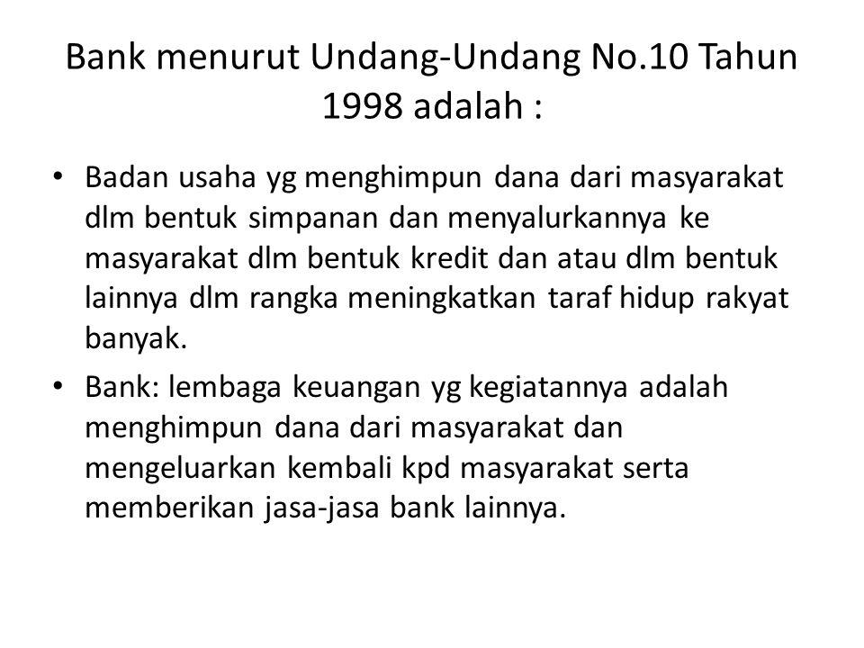 Bank menurut Undang-Undang No.10 Tahun 1998 adalah : Badan usaha yg menghimpun dana dari masyarakat dlm bentuk simpanan dan menyalurkannya ke masyarak