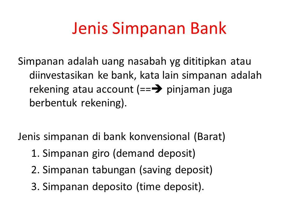 Jenis Simpanan Bank Simpanan adalah uang nasabah yg dititipkan atau diinvestasikan ke bank, kata lain simpanan adalah rekening atau account (==  pinj