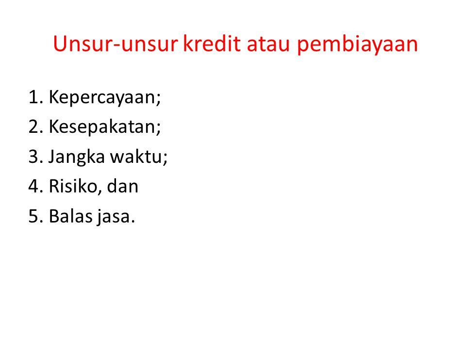 Unsur-unsur kredit atau pembiayaan 1. Kepercayaan; 2. Kesepakatan; 3. Jangka waktu; 4. Risiko, dan 5. Balas jasa.