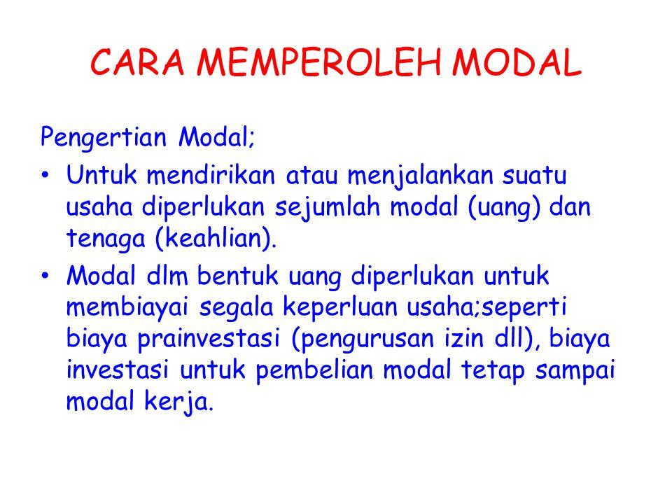 CARA MEMPEROLEH MODAL Pengertian Modal; Untuk mendirikan atau menjalankan suatu usaha diperlukan sejumlah modal (uang) dan tenaga (keahlian). Modal dl
