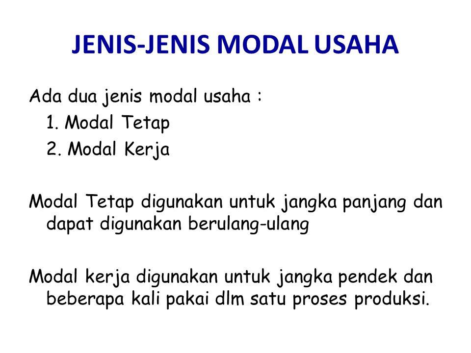 JENIS-JENIS MODAL USAHA Ada dua jenis modal usaha : 1. Modal Tetap 2. Modal Kerja Modal Tetap digunakan untuk jangka panjang dan dapat digunakan berul