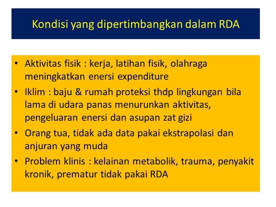 Kondisi yang dipertimbangkan dalam RDA Aktivitas fisik : kerja, latihan fisik, olahraga meningkatkan enersi expenditure Iklim : baju & rumah proteksi