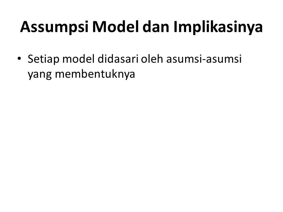 Assumpsi Model dan Implikasinya Setiap model didasari oleh asumsi-asumsi yang membentuknya